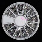 5 Kinds 3D Nail Art Tips Gems Crystal Glitter Rhinestone DIY Decoration + Wheel