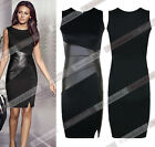 Sexy Women's Faux Leather Splice Party Cocktail Evening Mini Pencil Midi Dress