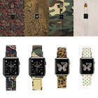 Fashion Canvas Leopard Camo Dot Watch Band Strap Adapter For Apple Watch iWatch