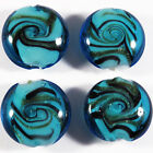 4 PERLES PLATES GALETS VERRE DE MURANO TURQUOISE 20 mm