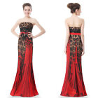 Ever Pretty Brown Strapless Printed Fishtail Maxi Evening Party Dress 09881
