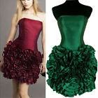 New Ruffle Skirt Shinning Satin Party Race Prom Formal Cocktail Dress
