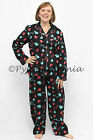 Pyjamas Ladies Flannel Pjs Set Black Hearts Sz 8 10 12 14 16