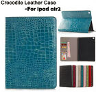 Crocodile Leather Case Flip Wallet Cover Auto Sleep For Apple iPad Air 2 iPad 6