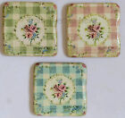 Chic Shabby Ceramic Floral Chunky Gingham Coaster French Vintage Pastel Colours