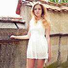 Women's Pearl Chain Elegent Lace White Summer Short Party Casual Dress 05129