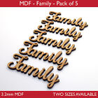Wooden MDF Family Word Script for Family Tree Crafts - Pack of 5