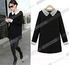 Women's Fashion Black Color Long Sleeves Party Dress with Lace Peter Pan Collar