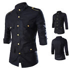 Black Multi Pocket Shirt Men Cargo Shirt Slim Fit with Epaulets Embellished