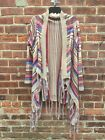 Perfect Fall Fringe Multicolor Cardigan, Saddleblanket Corals Blues & Sand