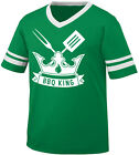 BBQ King Crown Fork Spatula Fire Grill Flame Barbecue US Men's V-Neck Ringer Tee