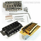 Guitar Tremolo Bridge Chrome, Black or Gold, Strat Replacement Set c/w Springs