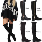 WOMENS LADIES THIGH HIGH OVER THE KNEE FLAT PLATFORM HEEL STRETCH BOOTS SIZE
