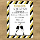 Cheers To The New Years Eve Personalised Black & White Party Invites +Envelopes