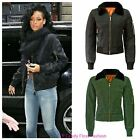 WOMENS MA1 CLASSIC BOMBER CROP JACKET LADIES FAUX FUR VINTAGE BIKER TOP