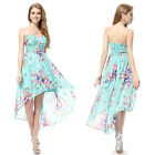 Women's Blue Strapless Floral Printed High Low Summer Cocktail Dress 05094