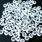 10 & 520 MIXED WHITE ACRYLIC ALPHABET LETTER A-Z ROUND COIN SPACER BEAD SIZE 7mm