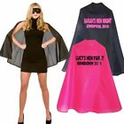 HEN PARTY DO NIGHT FANCY DRESS SUPERHERO OUTFIT PERSONALISED CAPE SASH T-SHIRT