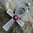 Ra Ankh Cross of life Celtic Acrylic Crystal Red Garnet January pewter pendant