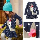 Toddler Baby Girls Kids Autumn Clothes Long Sleeve Party Deer Tops T-Shirt Dress