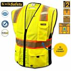 ALL SIZES ANSI Class 2 High Vis Reflective Safety Vest Clear ID pocket D-ring