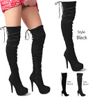 WOMENS LADIES OVER THE KNEE THIGH HIGH PARTY STRETCH BLOCK MID HEEL BOOTS SIZE