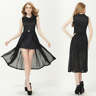 Women's Elegant Lace Sleeveless Collar Slitted Party Casual Dress 08275