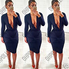 Womens Navy Bodycon Gathered Ruffled Deep Plunge Evening Party Ladies Midi Dress