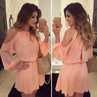 women ladies off shoulder party long sleeve mini bodycon dress Kleider