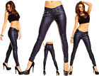 Womens Leather Look Blue Low Rise Skinny Jeans Blue Slim Trousers Size 10 12