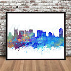 Nashville skyline Tennessee TN map cityscape watercolor print painting poster