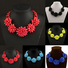 New Crystal Acrylic Flower Chain Choker Chunky Statement Collar Necklace E  10H