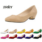 Women's Closed Pointed Faux Suede Pointed Toe Low Mid Kitten Heels Office Pumps