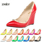 Women's Peep Toe High Heel Adora Gladiator Multi Metal Studded wedge Heel Pumps