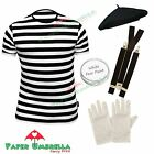 MENS FRENCH MIME ARTIST fancy dress costume TShirt Beret Braces Gloves OUTFIT