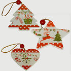 various designs of 5 hanging red and white christmas decorations