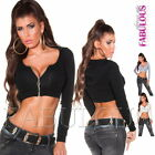 Sexy Ladies Crop Top Jacket Hoodie Long Sleeve Casual Party Size 6 8 10 XS S M