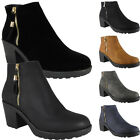 LADIES WOMENS MID HIGH LOW HEEL PARTY BLACK ZIP ANKLE CHELSEA BOOTS SHOES SIZE