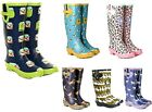 WOMENS FUNKY FLAT FESTIVAL WELLIES WELLINGTONS WATERPROOF RAIN BOOTS SIZES 3-8