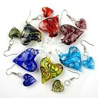 Foil Murano Lampwork Glass Colorful Heart Hook Pendant Earring Set Gift Colors