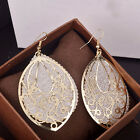 Fashion Polish Carved Hollow Double Layers Drop 3 Colors Ear Dangle Earrings