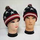 New Winter Knit Hat American Flag USA Patriotic Beanie Fleece Lined Ski Cap Warm