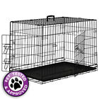 Folding Dog Pet Crate Cage Kennel House ABS Tray Pan - Black