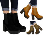 NEW WOMENS FAUX SUEDE ANKLE HIGH BLOCK HEEL CHELSEA PLATFORM BOOTS SIZE 3-8