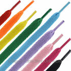 1 New Pair Flat PLAIN Laces 115cm Long 1cm Wide VARIOUS COLOURS Trainers Shoes