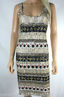 All Saints White Sequin Aztec Tribal Embelished Bodycon Mini Party Dress 10 - 12