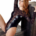Body Wetlook Spitze Langarm Stringbody Dessous Reizwäsche S M L 48 XL