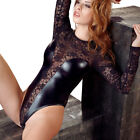 "Body Wetlook Spitze  S M L XL Langarm Stringbody Dessous Reizwäsche 48 ""Madlen"""