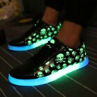Retro Women Skull Light Lace Up Lovers Athletic Luminous Shoes NC Hot Sale