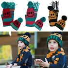 Kids Boys Girls Knit Cap Bobble Beanie Beret Hat + Scarves Scarf Set Xmas Gift